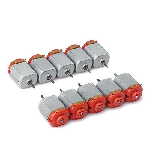 Droking 10 piezas Micro DC Motor 130 Red Cubierta trasera, 3-6V Motores del coche 16500 RPM Ultra alta velocidad Gadgets DIY, Adecuado para Control remoto Coches de juguete / Four Wheel Drive / Experimentos científicos
