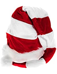 Lange Weihnachtsmütze Nikolausmütze Weiß Rot Gestreift Plüsch Rand Nikolaus Mütze X24