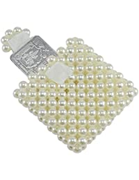 Saamarth Impex Loop Tape Closure Flap Mini Coin Case Pouch With Off-White Color Pearl Beaded SI-3415