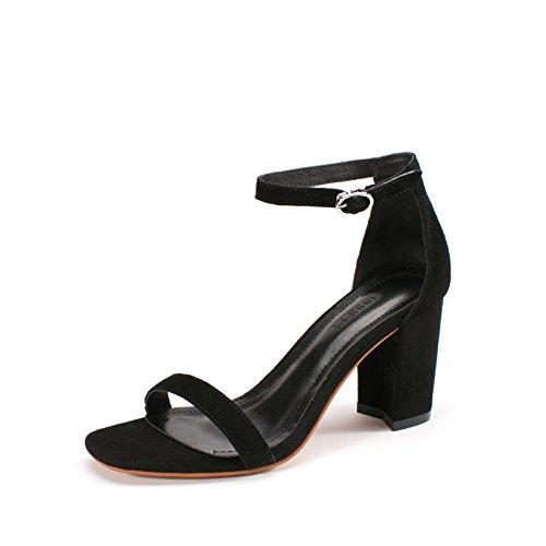 escarpins Sandales D'Été,Chaussures Femme Talons Talon,Un Mot avec des Chaussures Version Coréenne Tide Shoes A