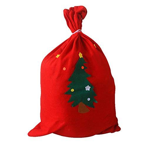 Biback Weihnachtssack Canvas Tasche für Geschenke mit Kordelzug XL, rot