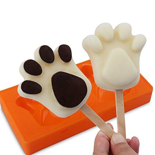 TOBWOLF Silikon Popsicle Form für EIS Bar Ice Pop handgemachte Seife gefrorener Joghurt, DIY EIS Sucker Eismaschine Tray Tools Plus 50 Holzstäbchen (2-Pfote) -