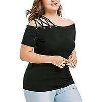Camisetas de tallas grandes para mujeres (L ~ 5XL), LILICAT® Pulseras de tiras elegantes Camisetas de manga corta de color liso, Cuello alto de tiras atractivas, Camisetas de moda veraniegas (4XL, Negro)