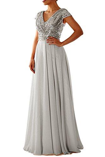 LuckyShe Damen Lang Elegant Pailletten Chiffon Brautjungfernkleid Abendkleider Ballkleid für Hochzeitsfeier (Pailletten Silber Lang Kleid)
