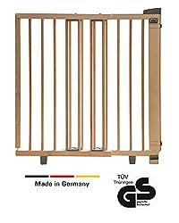 Geuther - Schwenk-Türschutzgitter 2732, für Kinder, Hunde und Katzen, Made in Germany, Befestigung in der Tür oder vor der Tür, zum bohren, stabil, Holz, natur, 58 - 105 cm, TÜV geprüft