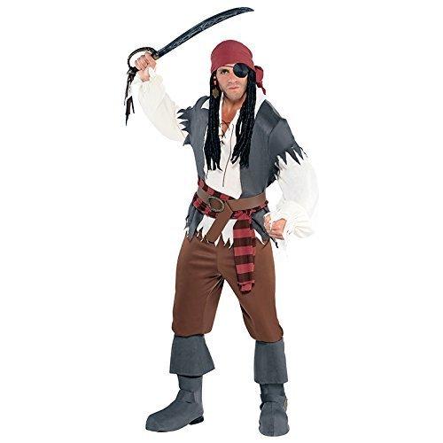 M/L Mens Mans Captain Castaway Costume for Pirate Fancy Dress Outfit by Amscan (Castaway Fancy Dress Kostüm)