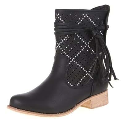 Damen Schuhe, STIEFELETTEN, LEICHTE LUFTIGE DEKO BOOTS, 581-PA, Synthetik in hochwertiger Leder Optik, Schwarz, Gr 36