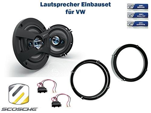 VW Golf VII (AU/AUF) Lautsprecher Einbauset (Türe Front) inkl. Scosche HD6504 165mm 3 Wege Triaxial Lautsprecher 200Watt