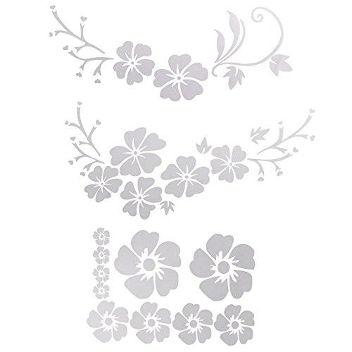 Graceme Hibiskus Autoaufkleber Blumen blumenaufkleber autotattoos selbstklebend Aufkleber Fenster Schwarz Weiß wasserfest (Weiß Blumen #1)