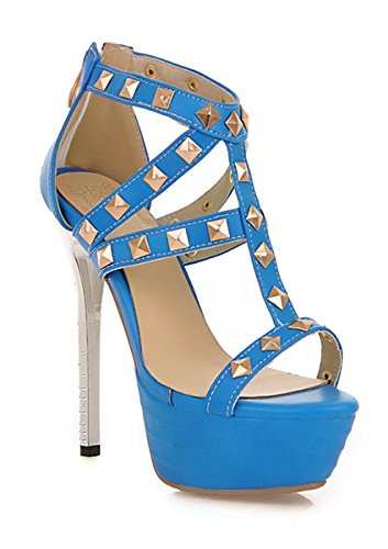 YE Damen Offene Peep Toe High Heel Plateau Stiletto Kristall Leder Party Pumps Sommer Sandalen Mit Nieten Schuhe Blau