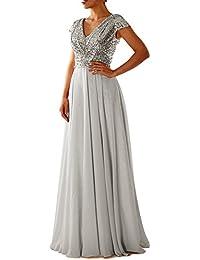 LuckyShe Damen Lang Elegant Pailletten Chiffon Brautjungfernkleid  Abendkleider Ballkleid für Hochzeitsfeier 4c50508bb9