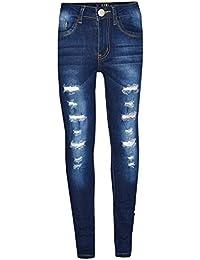 A2Z 4 Kids® Kinder Mädchen Dünn Jeans Designer Denim Zerrissen Dehnbar Hosen Mode Hosen Alter 3 4 5 6 7 8 9 10 11 12 13 Jahre