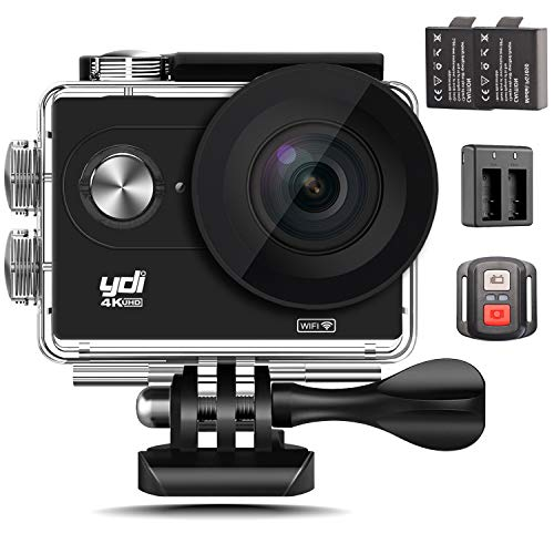 YDI Action Cam 4K WiFi Unterwasserkamera Ultra HD 12MP Action Kamera Wasserdicht 30M Helmkamera mit Fernbedienung, 2 Batterien und Zubehör Kits (Schwarz)