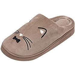 Dorical Zapatillas Invierno Suave Casa Caliente Zapatos Antideslizantes Peluche de Animales Zapatillas de Estar por casa Gato para niña niño Pantuflas Invierno Interior Suave Casa
