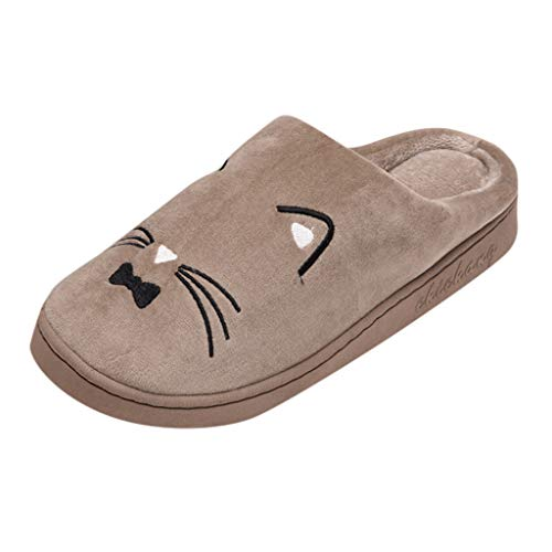Susenstone Mignon Chat Pantoufles Coton Peluche Chaussons IntéRieur Hiver Chaud Confort Mousse MéMoire AntidéRapant Chaussures pour Les Femmes Et Les Hommes