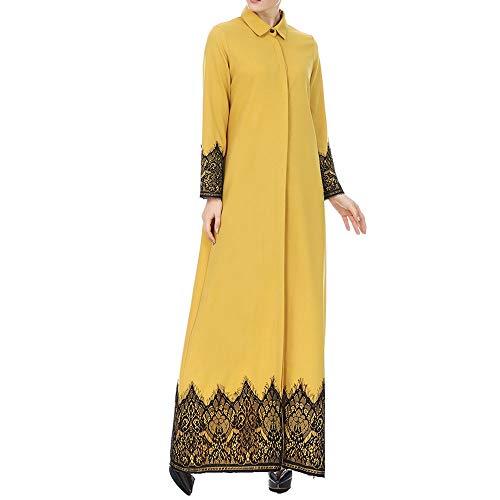JiaMeng Heißer Damen Herbst Outwear Lässige Strickjacke Muslimische Frauen Lace Getrimmte Vorder Abaya Muslim Maxi Kaftan Kimono Top Bluse