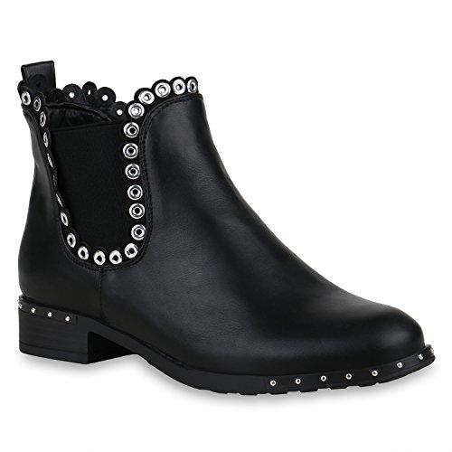 Stiefelparadies Damen Stiefeletten Chelsea Boots Leder-Optik Ankle Booties Kurzschaft-Stiefel Ösen Nieten 157366 Schwarz Carlton 38 Flandell