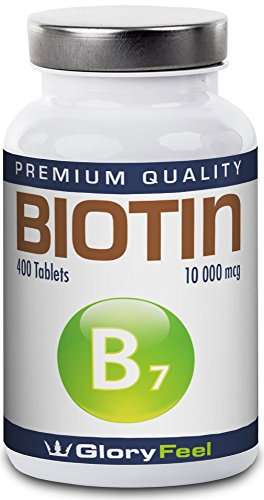 Biotin 400 Tablets 10000 mcg – Hair Growth Supplement – 400 Vegan Tablets – 13 Month Supply – Vitamin B7 for Thick, Healthy Hair, Strong Nails and Pure Skin by GloryFeel