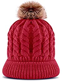 OK99 Cute Fur Ball Knitted Wool Beanie Pompom Hat