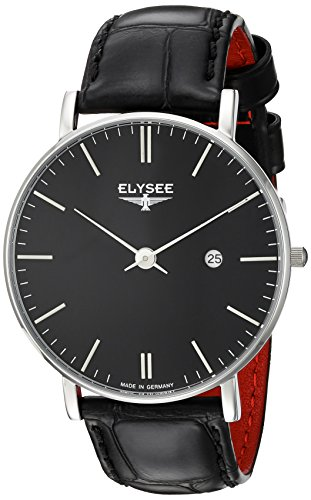 Elysee Zelos Mens Watch Black Leather Bracelet Black