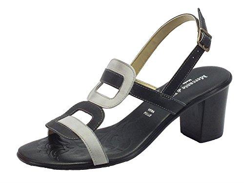 Sandali Mercante di Fiori in pelle nera e grigio con tacco medio (Taglia 37)