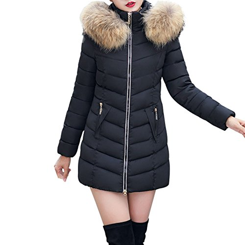 BBring Damen Mode Outwear, 2017 Neuer Frauen Slim Fit unten Jacken Winter Warmer Unten Mantel mit Gefälschter Pelz mit Kapuze Parka Jacken Mantel (M, Schwarz)