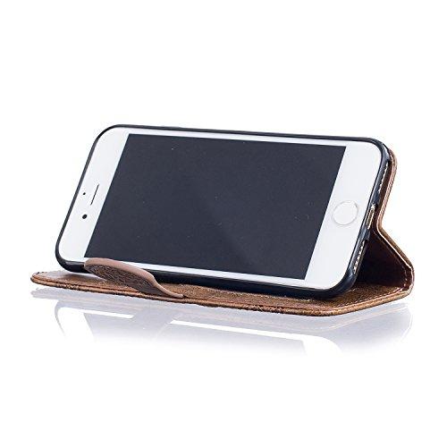 PU IPhone 7 (4.7 pouces) Bookstyle Étui fleurs Fleur Housse en Cuir Case à rabat pour Apple iPhone 7 (4.7 pouces) Coque de protection Portefeuille TPU Case (+Bouchons de poussière) (5) 11