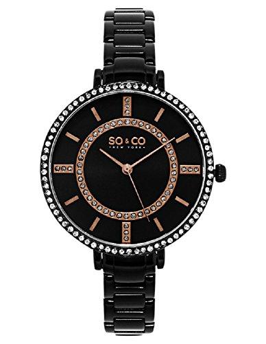 SO & CO New York Damen Analog Quarz Uhr mit Edelstahl Armband 5066.5