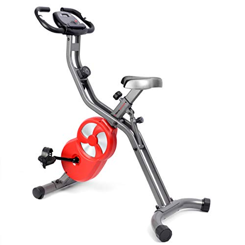 Ultrasport F-Bike 700 Pro Heimtrainer, Ergometer mit Trainingscomputer und Handpulssensoren, mit 8-fach einstellbarem Widerstand, klappbar, dunkelgrau rot