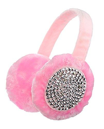 Cache-oreilles à couleur unie en fausse fourrure, accentués de pierres de Strass Rose