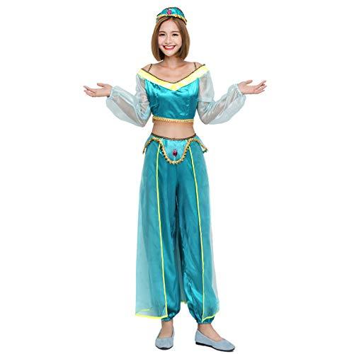 PIAOL Arabische Prinzessin Kostüm Halloween Indian Tänzer Kostüm Zweifarbig Sexy Bauchtanz Kleid Diffuse Kleidung,Blue-L