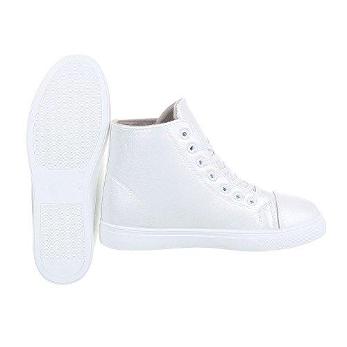 Ital-Design Scarpe da Donna Sneaker Piatto Sneakers High argento bianco D01