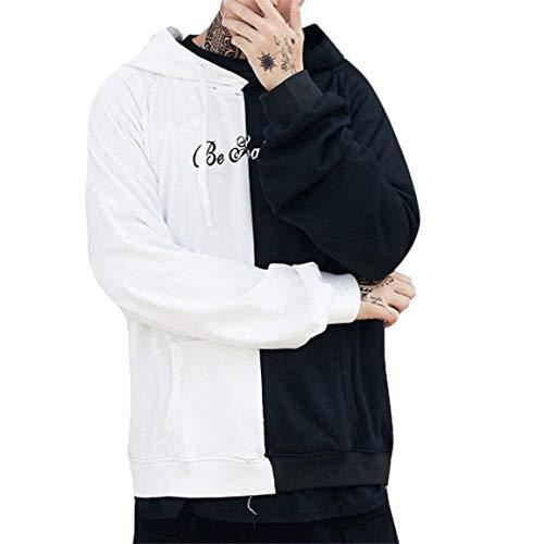 Langarm-Kapuzenshirts Mann Patchwork Teen lächelndes Gesicht Mode Print lässig Hoodie Sweatshirt Jacke Brief gedruckt Pullover Moonuy