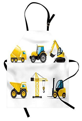 Soefipok Kinderschürze, Cartoon-Stil Schwermaschinen LKW Kran Bagger Mixer Traktor BAU, Unisex-Küche Latzschürze Verstellbarer Hals Kochen Backen Gartenarbeit, gelb grau schwarz