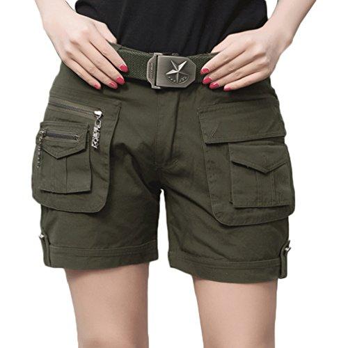 emansmoer Damen Baumwolle Camo Cargo Multi-Tasche Kurze Hosen Armee Militär Combat Taktisch Casual Outdoor Shorts (Größe 31, Armeegrün)