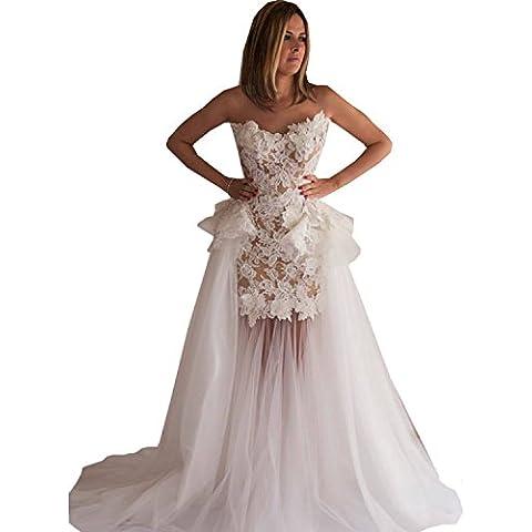 Dressvip a rete, colore: bianco senza spalline abito da sposa senza maniche, lunghezza intera