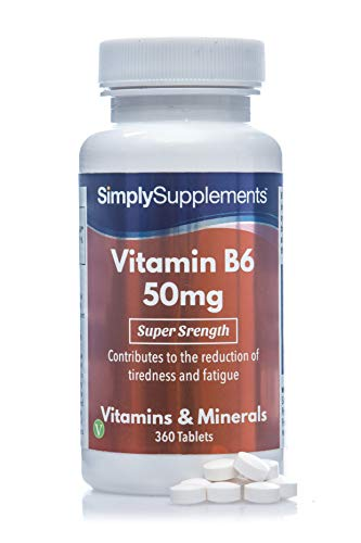 Vitamina B6 50mg - ¡Bote para 1 año! - Apto para veganos - 360 Comprimidos - SimplySupplements