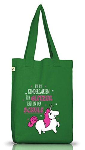Einschulungsgeschenk Erstklässler Stoffbeutel Einhorn - ich glitzer jetzt in der Schule Moss Green