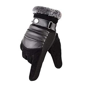 MUCO Winterhandschuhe Herren Warme Handschuhe Plus Velvet Touchscreen Texting Rutschfest Verstellbarer Handgelenkriemen Herrengröße Schwarz und Braun