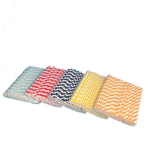 apiertrinkhalme Strohhalme Trinkröhrchen aus Papier 6x220mm je 100 hellblau rot dunkelblau gelb orange gestreift (auf Wunsch frei mischbar) ()
