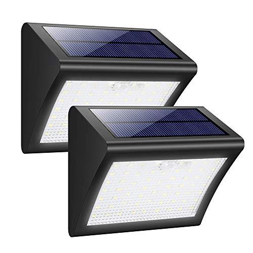 YQJJZX Solarleuchten, 60 LED-Solar-Sicherheitsleuchten Wasserdichte Solarleuchten 1800mAh Außenwandleuchten 3 intelligente Modi Solar-Bewegungsmelderleuchten für den Garten [2er-Pack], schwarz