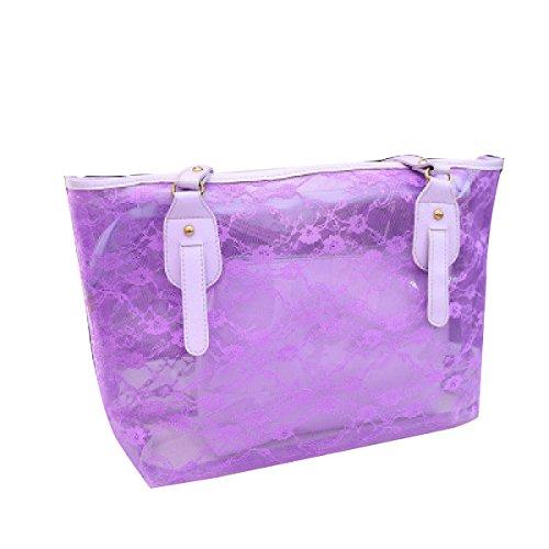 Donne Impermeabile Colori Della Caramella Trasparenti Borse Da Spiaggia Cristallo Nuoto Borsa A Tracolla Purple