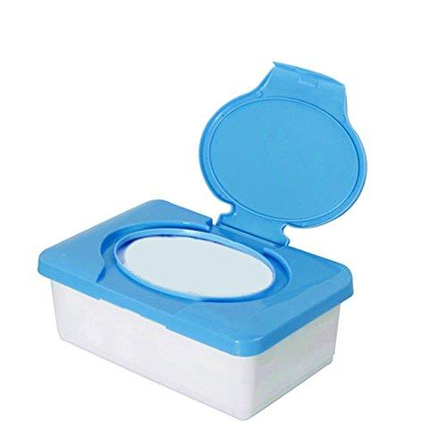Soporte de plástico impermeable para pañuelos de bebé, dispensador de pañuelos para el hogar azul azul