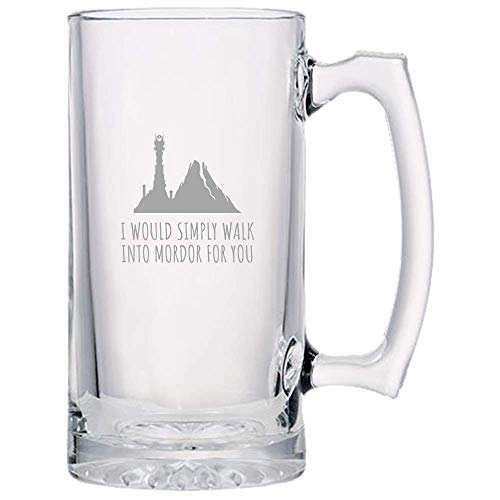 Tolkien ventilateur Bière Mug-Seigneur des Anneaux Nerd Cadeau-Cadeau d'anniversaire-Seigneur des Anneaux Saint Valentin-simplement marcher dans Mordor pour vous-Epic Fantasy Cadeau Geek