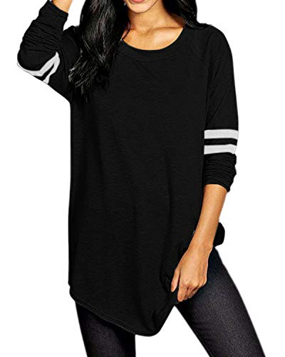 VONDA Damen Langarm Baseballshirt Casual T-Shirt Langarmshirt mit Rundhalsausschnitt Schwarz M