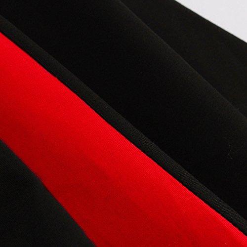 VKStar® Retro Herbst 50er Schleife Abendkleid / Cocktailkleid langarm Rockabilly Swing Kleid Schwarz-Rot