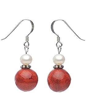 Ohrringe Ohrhänger aus Koralle Schaumkoralle & Perlen 925 Silber rot weiß