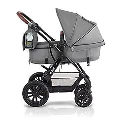 Kinderkraft Moov Multi Kinderwagen Kombikinderwagen 3in1 mit Buggy Babyschale Grau