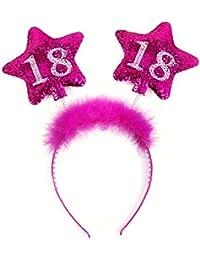 Unbekannt PartyDeco Haarreif zum 18. Geburtstag mit bunter Federboa und Sternen für Mädchen, Modell:Op18-Karton