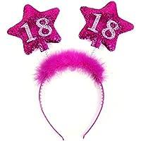Partydeco OP18-karton–Serre-tête anniversaire 18ans avec plumes et étoiles pour fille